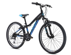 Fuji Dynamite 24 Comp Kids Mountain Bike Black Blue - We are open, restocked and ready - shop in-store and online safely today!